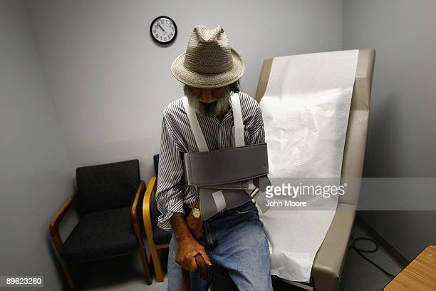 Anthony Cruz who said his healthcare is paid by Medicaid sits in an examination room after seeing a doctor on August 5 2009 in Walsenburg Colorado...