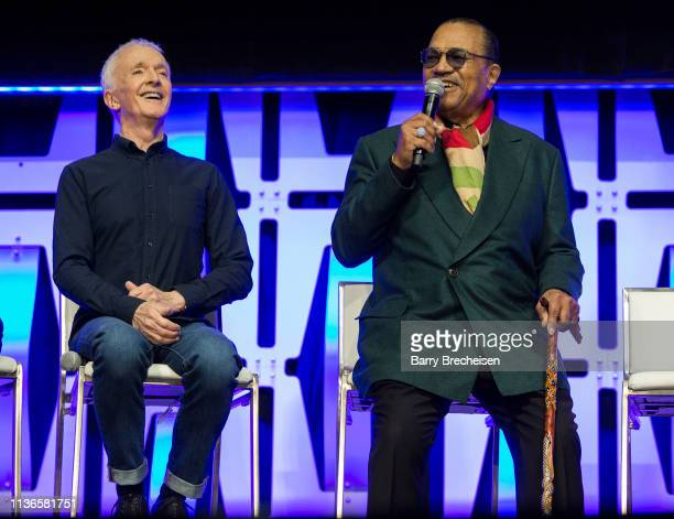Anthony Daniels and Billy Dee Williams speak onstage during the Star Wars Celebration at the Wintrust Arena on April 12, 2019 in Chicago, Illinois.