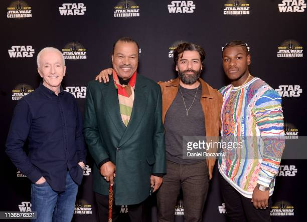 Anthony Daniels Billy Dee Williams Oscar Isaac and John Boyega attend The Rise of Skywalker panel at the Star Wars Celebration at McCormick Place...