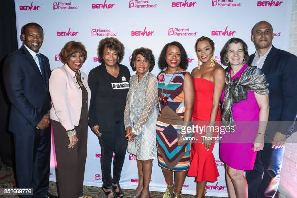 Anthony Daniels Brenda Lawrence Dr Joia CrearPerry Maxine Waters Tracy Reese Letoya Luckett Dawn Laguens and Cory Booker pose at the 6th Annual...