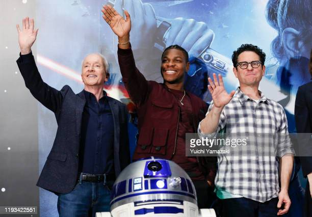 Anthony Daniels John Boyega and JJ Abrams attend the press conference for 'Star Wars The Rise of Skywalker' at Toho Cinemas Roppongi on December 12...