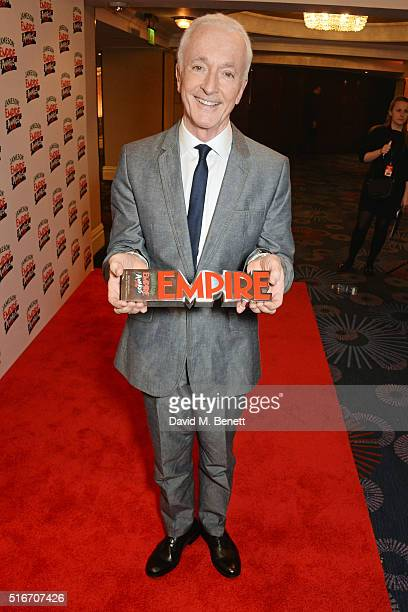 Anthony Daniels poses with the Best SciFi/Fantasy award for 'Star Wars The Force Awakens' in the winners room at the Jameson Empire Awards 2016 at...
