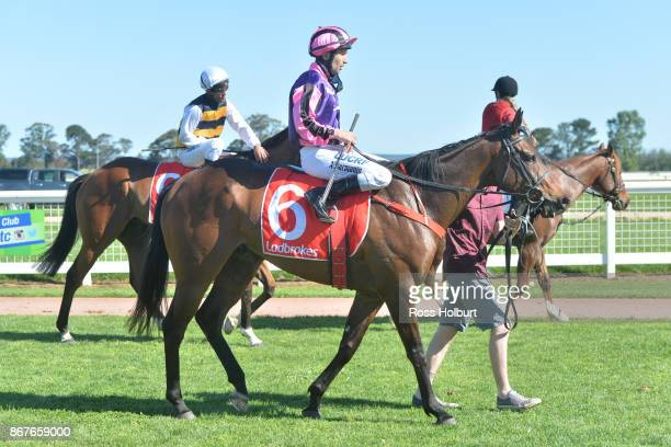 Anthony Darmanin returns to the mounting yard on Moss 'n' Dale after winning the Ladbrokes Sale Cup at Sale Racecourse on October 29 2017 in Sale...
