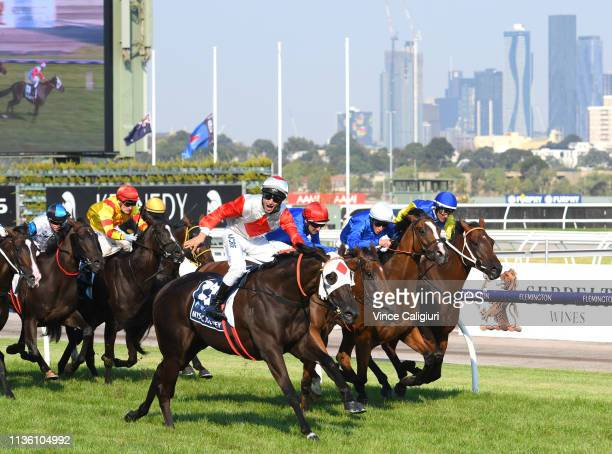 Anthony Darmanin riding Mystic Journey defeats Hugh Bowman riding Alizee and William Buik riding Hartnell and Le Romain on rail in Race 8, The All...