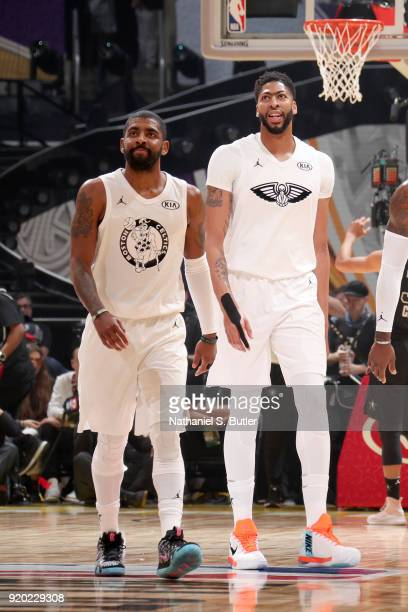 Anthony Davis and Kyrie Irving of Team LeBron looks on against Team Stephen during the NBA AllStar Game as a part of 2018 NBA AllStar Weekend at...