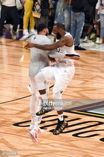Anthony Davis and LeBron James of team LeBron react after winning the NBA AllStar Game as a part of 2018 NBA AllStar Weekend at STAPLES Center on...