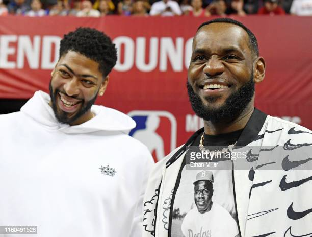 Anthony Davis and LeBron James of the Los Angeles Lakers arrive at a game between the Lakers and the LA Clippers during the 2019 NBA Summer League at...
