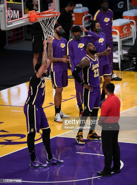 Anthony Davis and LeBron James of the Los Angeles Lakers react end of the game after losing to the Sacramento Kings at Staples Center on April 30,...