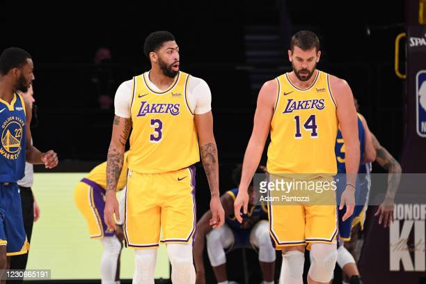 Anthony Davis and Marc Gasol of the Los Angeles Lakers talk during the game against the Golden State Warriors on January 18, 2021 at STAPLES Center...