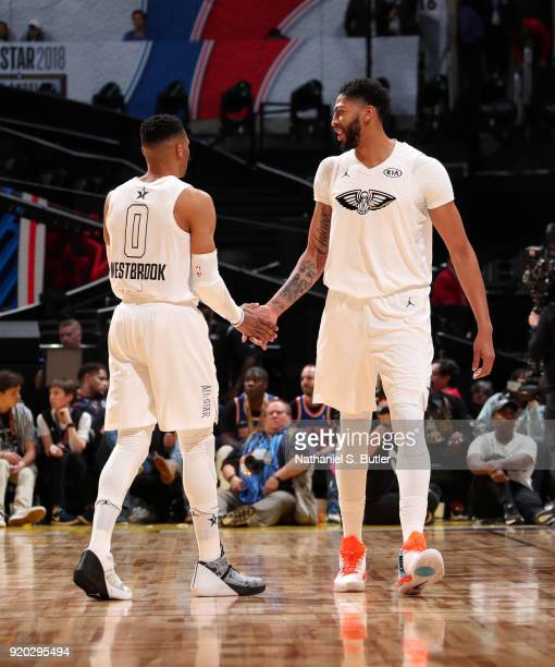 Anthony Davis and Russell Westbrook of Team LeBron high five during the game against Team Stephen during the NBA AllStar Game as a part of 2018 NBA...