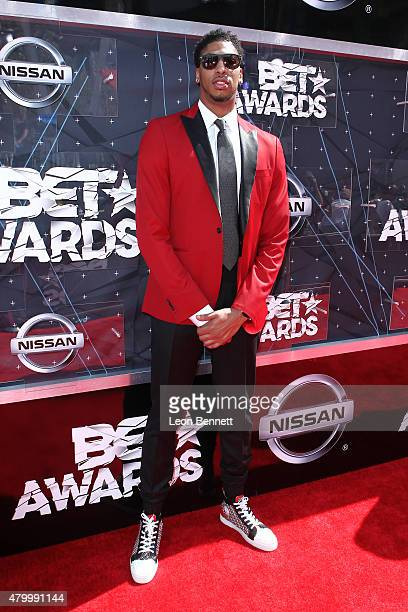 Anthony Davis arrived at the BET Make A Wish Foundation Recipients BET Experience At LA Live Red Carpet arrivals Weekend Events on June 28 2015 in...