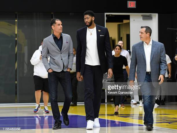 Anthony Davis arrives for the press conference to be introduced as the newest player of the Los Angeles Lakers with general manager Rob Pelinka...