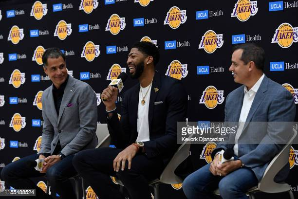 Anthony Davis is introduced as the newest player of the Los Angeles Lakers during a press conference with general manager Rob Pelinka and head coach...