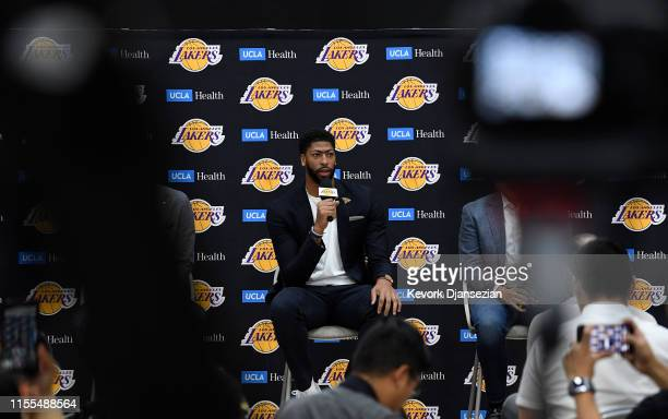 Anthony Davis is introduced as the newest player of the Los Angeles Lakers during a press conference at UCLA Health Training Center on July 13 2019...