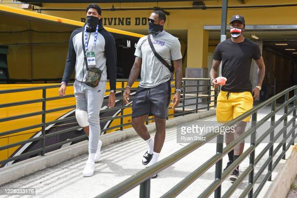 Anthony Davis LeBron James and Kentavious CaldwellPope of the Los Angeles Lakers leave the arena after the game against the Sacramento Kings on...