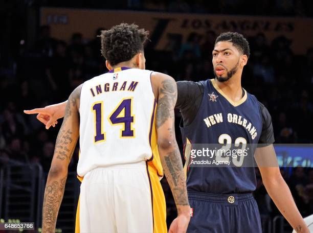 Anthony Davis of New Orleans Pelicans and Brandon Ingram of Los Angeles Lakers are seen during the NBA basketball match between Los Angeles Lakers...