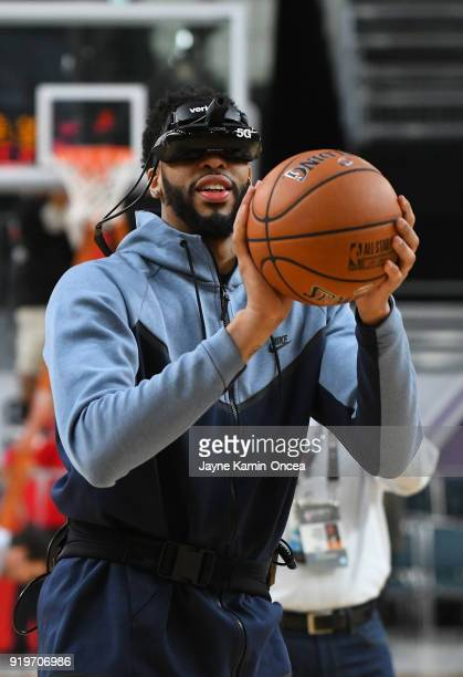 Anthony Davis of Team LeBron demonstrates Verizon's 5G technology as he shoots a free throw at the Verizon Up Arena at LACC on February 17 2018 in...