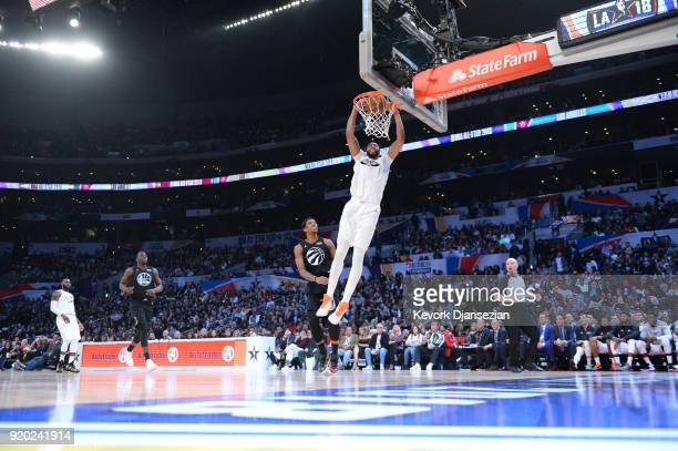 Anthony Davis of Team LeBron dunks during the NBA AllStar Game 2018 at Staples Center on February 18 2018 in Los Angeles California