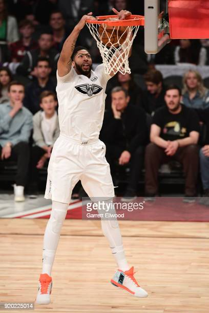 Anthony Davis of Team LeBron dunks the ball against Team Stephen during the NBA AllStar Game as a part of 2018 NBA AllStar Weekend at STAPLES Center...