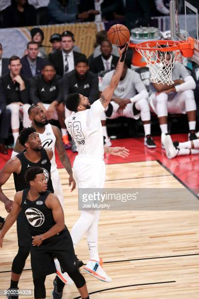 Anthony Davis of Team LeBron goes to the basket against Team Stephen during the NBA AllStar Game as a part of 2018 NBA AllStar Weekend at STAPLES...