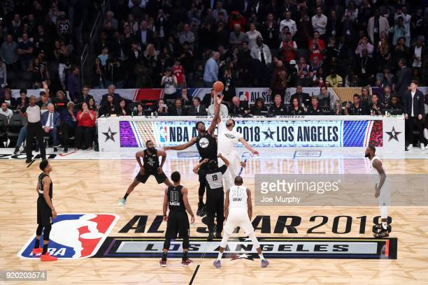 Anthony Davis of Team LeBron jumps for possession against Joel Embiid Team Stephen during the NBA AllStar Game as a part of 2018 NBA AllStar Weekend...