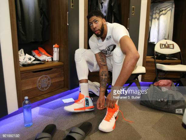 Anthony Davis of Team LeBron laces up before the game against Team Stephen during the NBA AllStar Game as a part of 2018 NBA AllStar Weekend at...