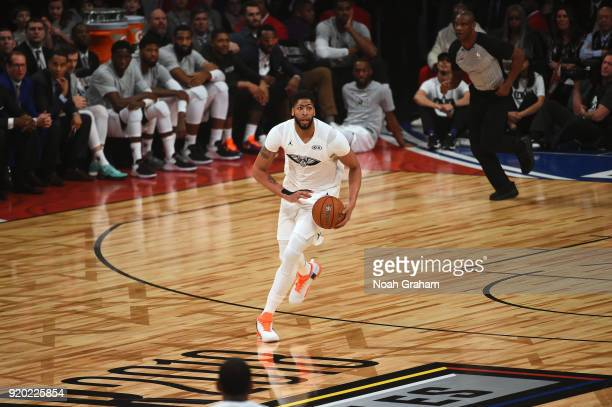 Anthony Davis of team LeBron looks to pass the ball during the NBA AllStar Game as a part of 2018 NBA AllStar Weekend at STAPLES Center on February...