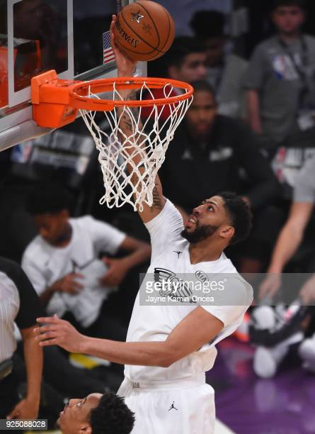 Anthony Davis of Team LeBron makes a lay up during the NBA AllStar Game 2018 at Staples Center on February 18 2018 in Los Angeles California