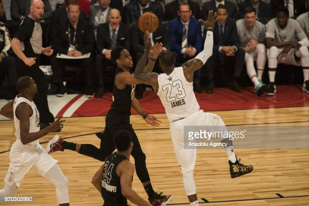 Anthony Davis of Team Lebron wins the tip off against Joel Embiid of Team Stephen during the 2018 NBA AllStar Game at the Staples Center in Los...