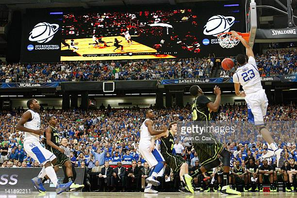 Anthony Davis of the Kentucky Wildcats dunks against the Baylor Bears in the first half during the 2012 NCAA Men's Basketball South Regional Final at...