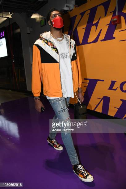 Anthony Davis of the Los Angeles Lakers arrives prior to a game against the Golden State Warriors on January 18, 2021 at STAPLES Center in Los...