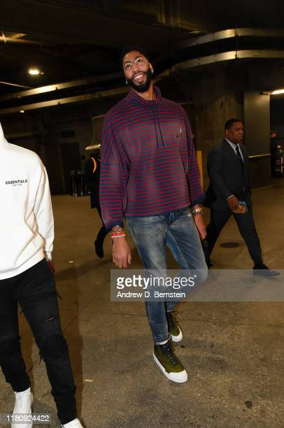 Anthony Davis of the Los Angeles Lakers arrives to the game against the Miami Heat on November 8 2019 at STAPLES Center in Los Angeles California...