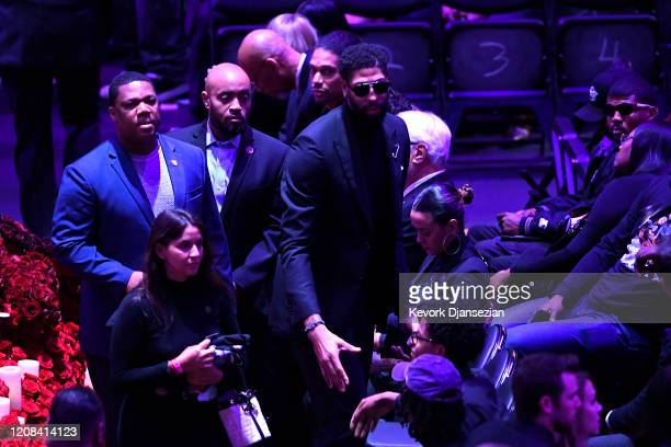 Anthony Davis of the Los Angeles Lakers attends The Celebration of Life for Kobe Gianna Bryant at Staples Center on February 24 2020 in Los Angeles...