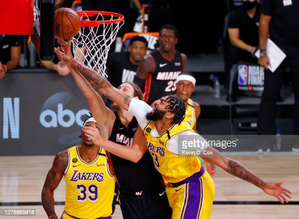 Anthony Davis of the Los Angeles Lakers blocks Kelly Olynyk of the Miami Heat during the second quarter in Game Four of the 2020 NBA Finals at...