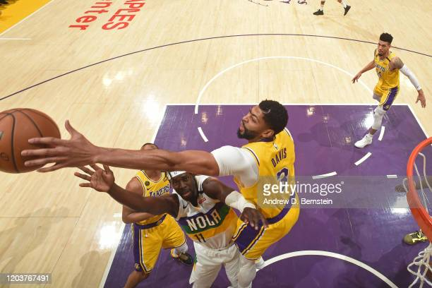 Anthony Davis of the Los Angeles Lakers blocks shot against the New Orleans Pelicans on February 25, 2020 at STAPLES Center in Los Angeles,...