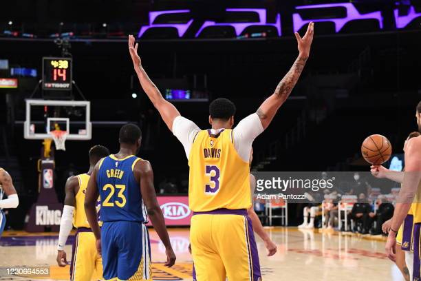 Anthony Davis of the Los Angeles Lakers celebrates during the game against the Golden State Warriors on January 18, 2021 at STAPLES Center in Los...