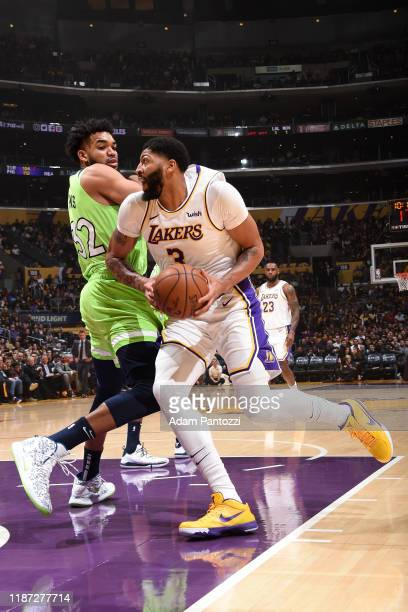 Anthony Davis of the Los Angeles Lakers drives to the basket against the Minnesota Timberwolves on December 8 2019 at STAPLES Center in Los Angeles...