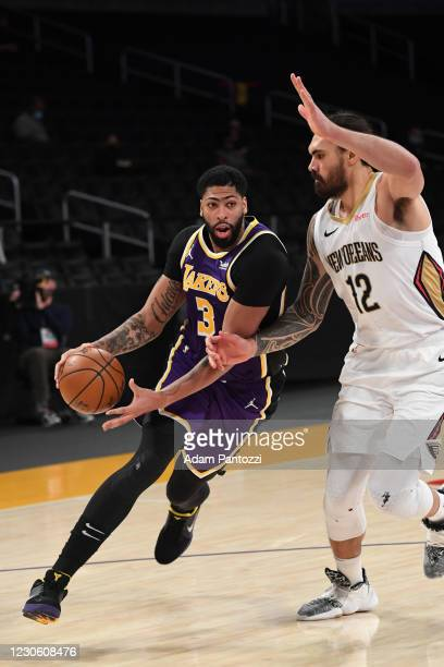Anthony Davis of the Los Angeles Lakers drives to the basket during the game against the New Orleans Pelicans on January 15, 2021 at STAPLES Center...