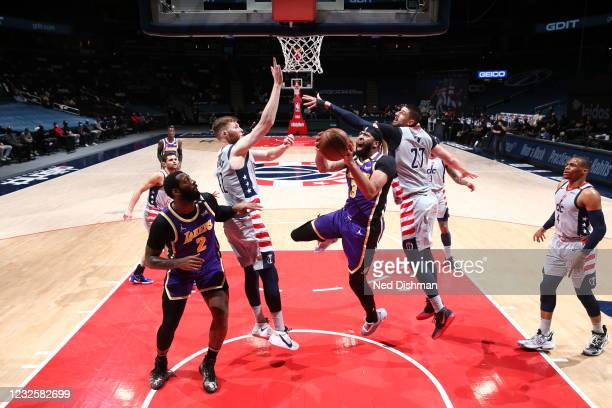 Anthony Davis of the Los Angeles Lakers drives to the basket during the game against the Washington Wizards on April 28, 2021 at Capital One Arena in...