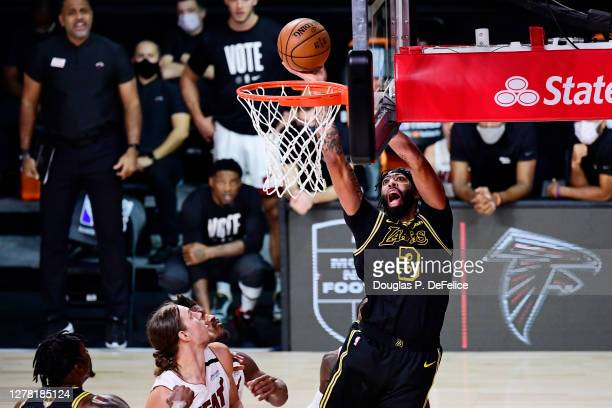 Anthony Davis of the Los Angeles Lakers drives to the basket during the second half against the Miami Heat in Game Two of the 2020 NBA Finals at...