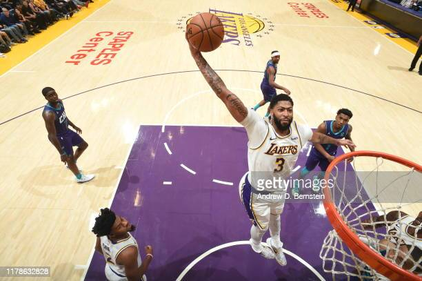 Anthony Davis of the Los Angeles Lakers dunks the ball against the Charlotte Hornets on October 27 2019 at STAPLES Center in Los Angeles California...