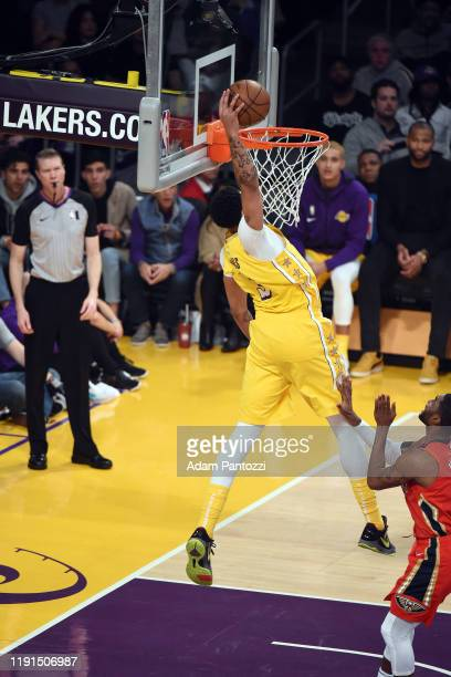 Anthony Davis of the Los Angeles Lakers dunks the ball during the game against the New Orleans Pelicans on January 3 2020 at STAPLES Center in Los...