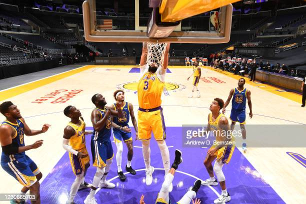 Anthony Davis of the Los Angeles Lakers dunks the ball during the game against the Golden State Warriors on January 18, 2021 at STAPLES Center in Los...