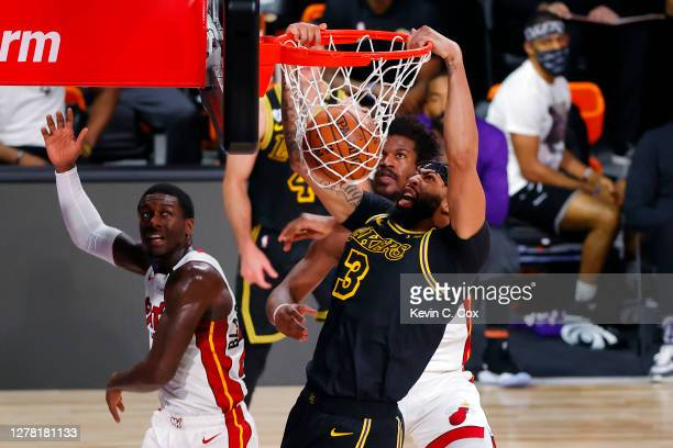 Anthony Davis of the Los Angeles Lakers dunks the ball during the first half against the Miami Heat in Game Two of the 2020 NBA Finals at...