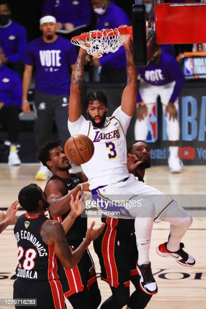 Anthony Davis of the Los Angeles Lakers dunks the ball during the second quarter against the Miami Heat in Game Six of the 2020 NBA Finals at...
