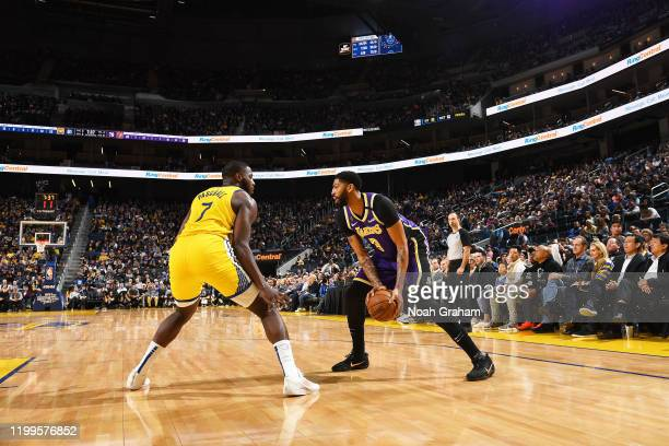 Anthony Davis of the Los Angeles Lakers handles the ball against the Golden State Warriors on February 8 2020 at Chase Center in San Francisco...
