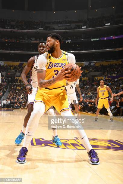 Anthony Davis of the Los Angeles Lakers handles the ball against the Brooklyn Nets on March 10 2020 at STAPLES Center in Los Angeles California NOTE...