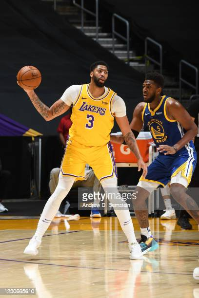 Anthony Davis of the Los Angeles Lakers handles the ball during the game against the Golden State Warriors on January 18, 2021 at STAPLES Center in...