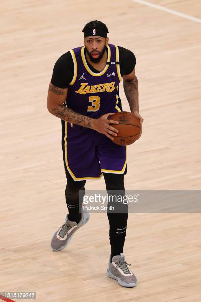 Anthony Davis of the Los Angeles Lakers in action against the Washington Wizards at Capital One Arena on April 28, 2021 in Washington, DC. NOTE TO...