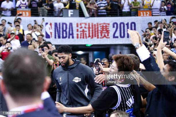 Anthony Davis of the Los Angeles Lakers in action before the match against the Brooklyn Nets during a preseason game as part of 2019 NBA Global Games...